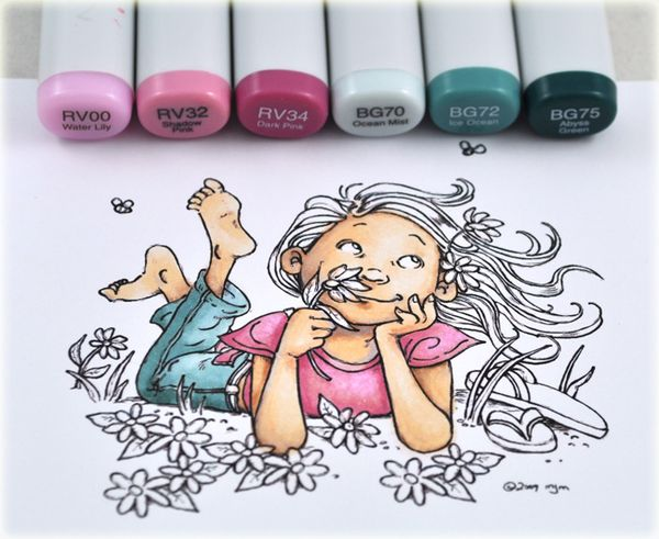Stop and Smell the Flowers Copic Tutorial - Thinking Inking